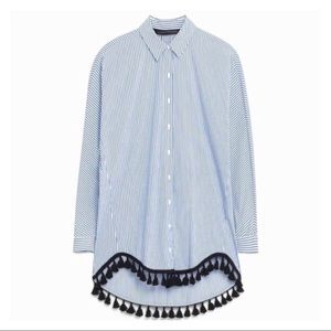 Zara Striped Tassel Blouse